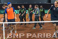 The Hague, The Netherlands, September 13, 2017,  Sportcampus , Davis Cup Netherlands - Chech Republic, Training Dutch team, Football club FC Den Haag is visiting<br /> Photo: Tennisimages/Henk Koster