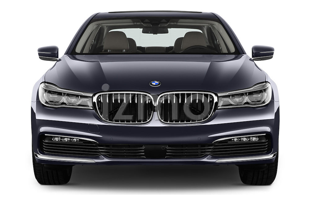 Car photography straight front view of a 2016 BMW 7 Series 740i 4 Door Sedan Front View