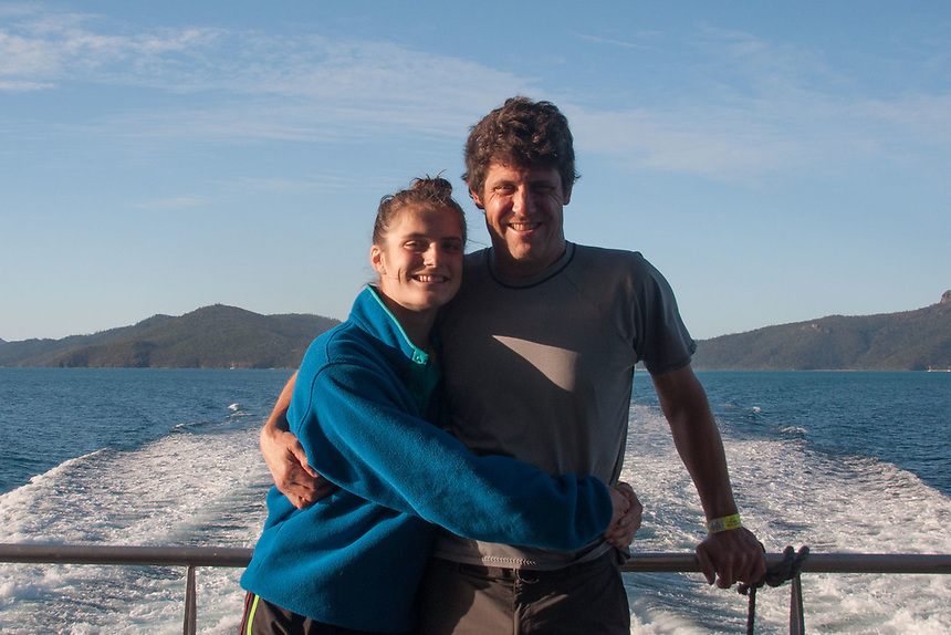 Eliza and Roddy Coming Back from the Great Barrier Reef, Whitsunday islands,  Queensland, Australia