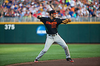 Brandon Lopez (51) of the Miami Hurricanes throws during a game between the Miami Hurricanes and Florida Gators at TD Ameritrade Park on June 13, 2015 in Omaha, Nebraska. (Brace Hemmelgarn/Four Seam Images)