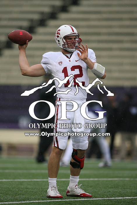 Oct 30, 20010:  Stanford quarterback #12 Andrew Luck warms up before the game against Washington.  Stanford defeated Washington 41-0 at Husky Stadium in Seattle, Washington.  ..