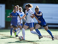 Seattle, WA - Saturday July 15, 2017: Morgan Andrews, Merritt Mathias during a regular season National Women's Soccer League (NWSL) match between the Seattle Reign FC and the Boston Breakers at Memorial Stadium.