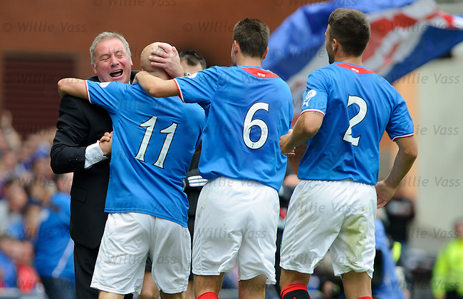 Ally McCoist celebrates with Nicky Law