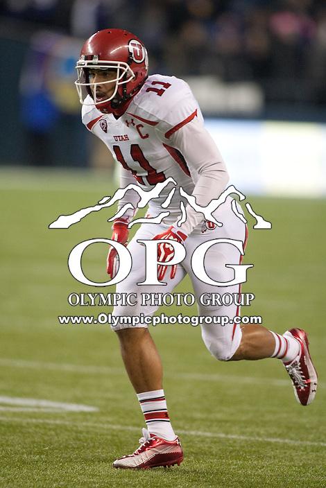 NOV 10, 2012:  Utah's Luke Matthews against Washington.  Washington defeated Utah  34-15 at CenturyLink Field in Seattle, WA...