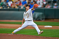 Salt Lake Bees starting pitcher Tim Lincecum (27) delivers a pitch to the plate against the Round Rock Express in Pacific Coast League action at Smith's Ballpark on August 15, 2016 in Salt Lake City, Utah. Round Rock defeated Salt Lake 5-4.  (Stephen Smith/Four Seam Images)