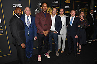 "08 May 2019 - Los Angeles, California - (L-R) Director & Executive Producer Antoine Fuqua, executive producer Paul Watcher, executive producer Maverick Carter, president/HBO programming Casey Bloys, executive vp, HBO sports Peter Nelson, executive producer Bill Gerber, producer Kat Samick . ""What's My Name: Muhammad Ali"" HBO Premiere held at Regal Cinemas LA LIVE 14. Photo Credit: Billy Bennight/AdMedia"