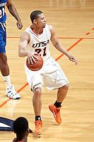 SAN ANTONIO, TX - FEBRUARY 23, 2011: The Texas A&M University Corpus Christi Islanders vs. the University of Texas at San Antonio Roadrunners Men's Basketball at the UTSA Convocation Center. (Photo by Jeff Huehn)