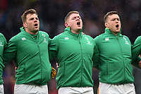 Jordi Murphy, Tadhg Furlong and Andrew Porter of Ireland sing their national anthem. Natwest 6 Nations match between England and Ireland on March 17, 2018 at Twickenham Stadium in London, England. Photo by: Patrick Khachfe / Onside Images