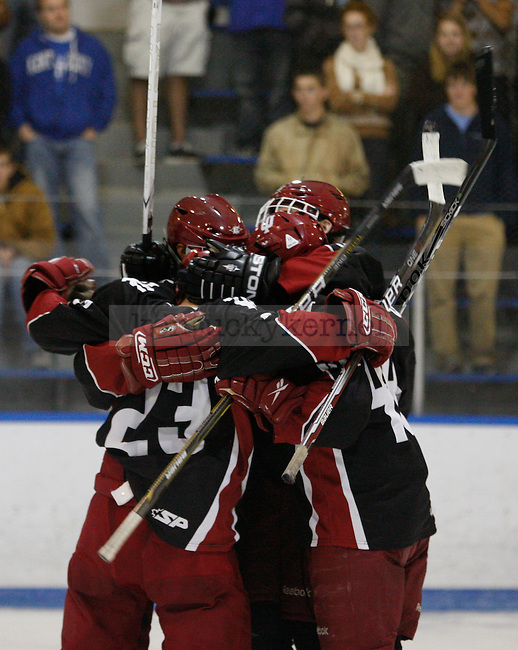 Indiana University players celebrate a goal at UK's home game against Indiana University at Lexington Ice Center in Lexington, Ky., on Friday, Nov. 4, 2011. UK lost 5-3. Photo by Tessa Lighty | Staff