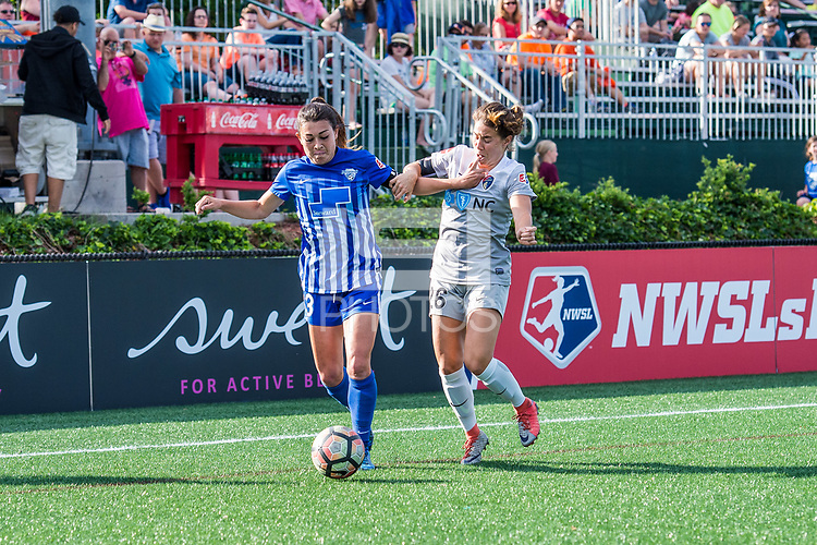 Boston, MA - Saturday June 24, 2017: Brooke Elby and Sam Witteman during a regular season National Women's Soccer League (NWSL) match between the Boston Breakers and the North Carolina Courage at Jordan Field.