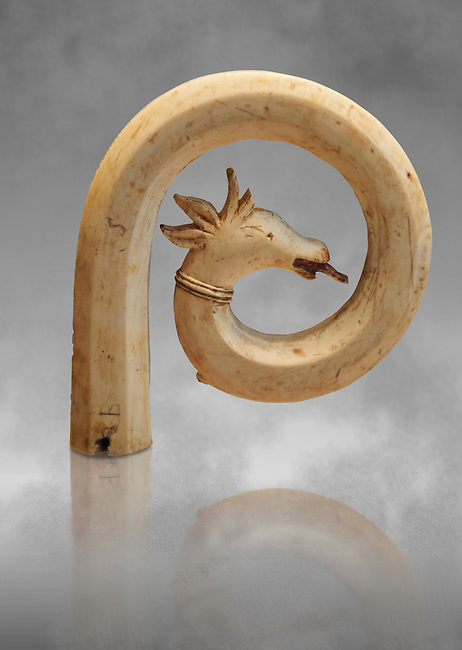Medieval Bouquetin goats horn ivory crosier with traces of paint, circa 12th century from the south of Italy. Inv OA 11150, The Louvre Museum, Paris.