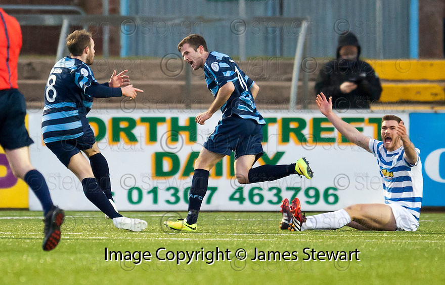 Forfar's Danny Denholm (11) celebrates with Gavin Malin (8) after he scores their goal.