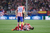 Atletico de Madrid´s Juanfran and Diego Costa during 16th Champions League soccer match at Vicente Calderon stadium in Madrid, Spain. January 06, 2014. (ALTERPHOTOS/Victor Blanco)