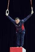 21st March 2018, Arena Birmingham, Birmingham, England; Gymnastics World Cup, day one, mens competition; Dominick Cunningham (GBR) on the Rings during Training
