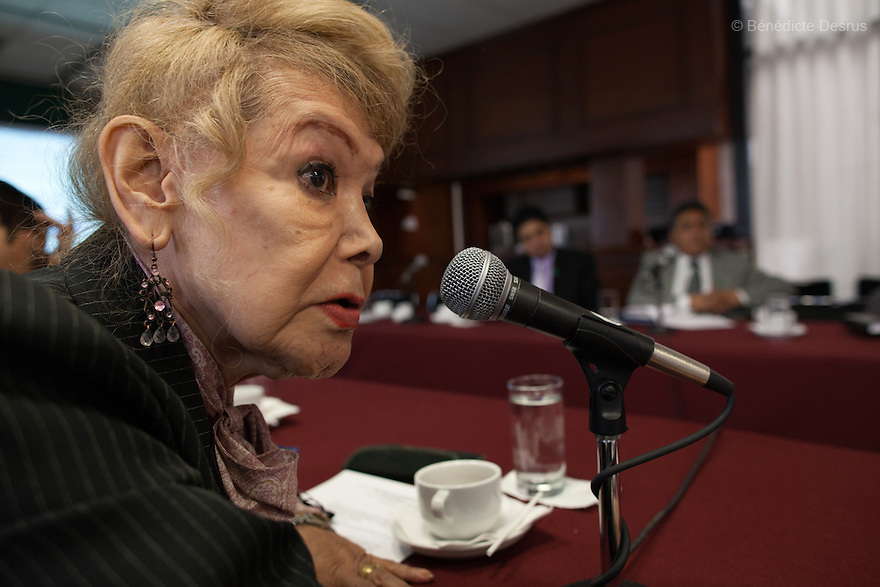 """September 12, 2012 - Mexico City, Mexico - Samantha talks at a human rights meeting in Mexico City. Samantha Flores is an 80-year-old transgender woman from Veracruz, Mexico. She is a prominent social activist for LGBTQI rights and is the founder of the non-profit organization """"Laetus Vitae"""", a day shelter for elderly gay people in Mexico City. Senior citizens in general are many times prone to neglect and abandonment by their families, leaving them all but invisible. Their plight can be even worse if they are homosexual. Photo credit: Bénédicte Desrus"""