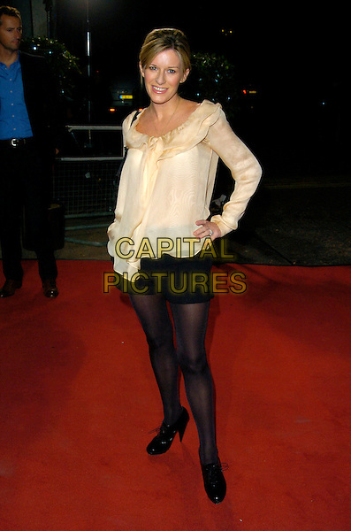 "ANDREA CATHERWOOD.Celebrity Guests attend ""Another Audience with Al Murray - Pub Landlord"" at London ITV Studios, South Bank, London, England, October 21st 2007. .full length cream ruffle blouse top black shorts tights.CAP/CAN.©Can Nguyen/Capital Pictures"