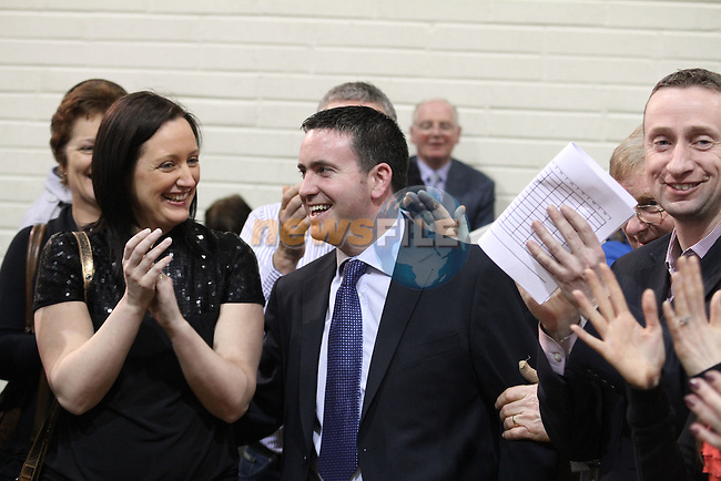 Fine Gael Candidate Damien English with his wife after not recieving the quota of votes after the first count in the 2011 Meath West Election Count in Trim GAA Grounds...(Photo credit should read Jenny Matthews/www.newsfile.ie)....This Picture has been sent you under the conditions enclosed by:.Newsfile Ltd..The Studio,.Millmount Abbey,.Drogheda,.Co Meath..Ireland..Tel: +353(0)41-9871240.Fax: +353(0)41-9871260.GSM: +353(0)86-2500958.email: pictures@newsfile.ie.www.newsfile.ie.