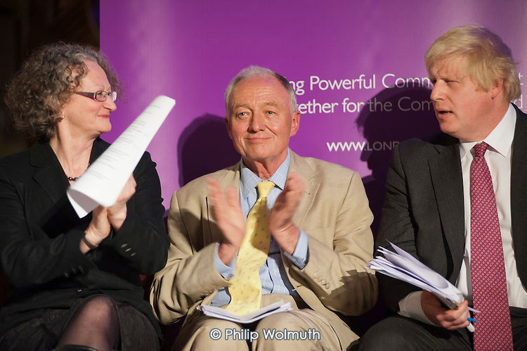 London Mayoral candidates Jenny Jones, Ken Livingstone and Boris Johnson.  London Citizens Mayoral Accountability Assembly, Central Hall, Westminster.