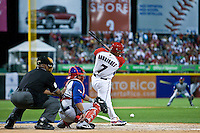 7 March 2009: #7 Ivan Rodriguez of Puerto Rico hits a ground ball during the 2009 World Baseball Classic Pool D match at Hiram Bithorn Stadium in San Juan, Puerto Rico. Puerto Rico wins 7-0 over Panama.