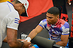 DEERFIELD BEACH, FL - JUNE 12: Yuriorkis 'The Cyclone of Guantanamo' Gamboa (R) and Dad and trainer Carlos Gamboa attends Yuriorkis 'The Cyclone of Guantanamo' Gamboa media work out at Iron Mike Productions Gym on June 12, 2014 in Deerfield Beach, Florida.  (Photo by Johnny Louis/jlnphotography.com)