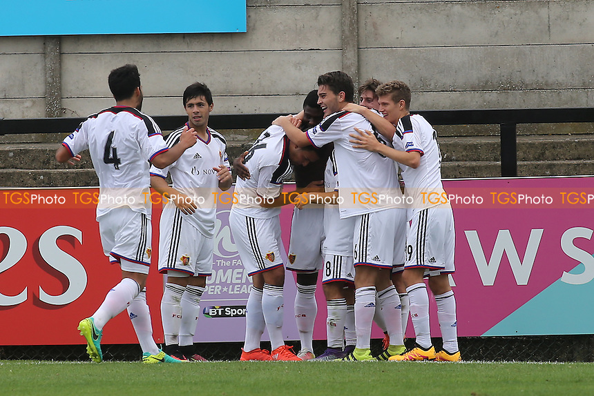 FC Basel's players congratulate Neftali Manzambi after scoring their last minute winning goal during Arsenal Under-19 vs FC Basel Under-19, UEFA Youth League Football at Meadow Park on 28th September 2016