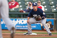New Orleans Zephyrs first baseman Luke Montz #30 on defense during the Pacific Coast League baseball game against the Round Rock Express on April 30, 2012 at The Dell Diamond in Round Rock, Texas. The Zephyrs defeated the Express 5-3. (Andrew Woolley / Four Seam Images)