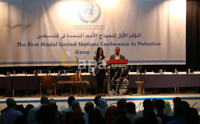 Palestinians take part in the first model of United Nations conference in Palestine, in Gaza city, on Aug. 2, 2016. Photo by Mohammed Asad