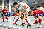 Mannheim, Germany, January 08: During the 1. Bundesliga men indoor hockey match between TSV Mannheim and Mannheimer HC on January 8, 2020 at Primus-Valor Arena in Mannheim, Germany. Final score 5-4. (Photo by Dirk Markgraf / www.265-images.com) *** Paul Zmyslony #13 of Mannheimer HC, Moritz Moeker #6 of TSV Mannheim, Jan-Philipp Fischer #23 of Mannheimer HC