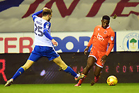 Blackpool's Viv Solomon-Otabor is challenged by Wigan Athletic's Nick Powell<br /> <br /> Photographer Richard Martin-Roberts/CameraSport<br /> <br /> The EFL Sky Bet League One - Wigan Athletic v Blackpool - Tuesday 13th February 2018 - DW Stadium - Wigan<br /> <br /> World Copyright &not;&copy; 2018 CameraSport. All rights reserved. 43 Linden Ave. Countesthorpe. Leicester. England. LE8 5PG - Tel: +44 (0) 116 277 4147 - admin@camerasport.com - www.camerasport.com