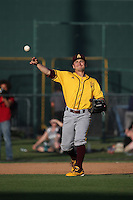 Jordan Aboites (23) of the Arizona State Sun Devils makes a throw during a game against the Long Beach State Dirtbags at Blair Field on February 27, 2016 in Long Beach, California. Long Beach State defeated Arizona State, 5-2. (Larry Goren/Four Seam Images)