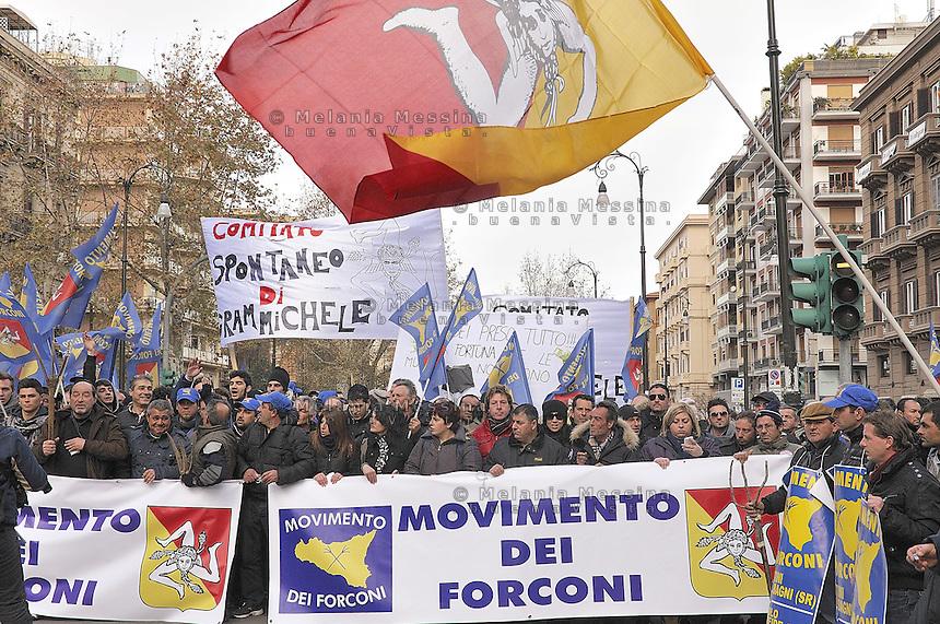 March of the so called Movement of the Pitchforks coming from all over Sicily in Palermo..Marcia di protesta del movimento dei forconi a Palermo con delegazioni provenienti da tutta la Sicilia.