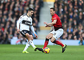 9th February 2019, Craven Cottage, London, England; EPL Premier League football, Fulham versus Manchester United; Nemanja Matic of Manchester United challenges Aleksandar Mitrovic of Fulham