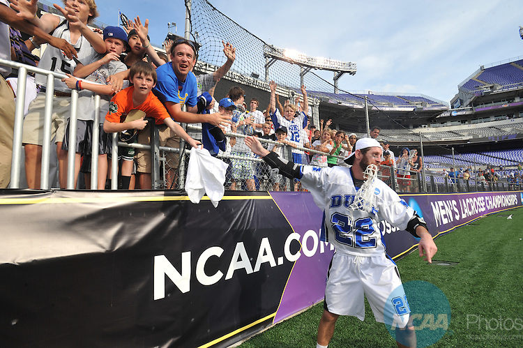 31 MAY 2010: Duke University plays the University of Notre Dame during the Division I Men's Lacrosse Championship held at M+T Bank Stadium in Baltimore, MD.  Duke defeated Notre Dame 6-5 in overtime for the national title. Larry French/NCAA Photos
