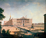 """View of the Michael Palace and the Connetable Square, St Petersburg, c1800. St Michael's Castle is a former imperial palace built for Tsar Paul I in 1797-1801. The architects were Vincenzo Brenna and Vasili Bazhenov. Paul I was assassinated by conspirators in his bedroom in the palace on 12 March 1801, just 40 days after moving in. After his death the Imperial Family did not use the palace and it was handed over to the Russian Army's Main Engineering School. Since the 1990s it has housed part of the collection of the Russian Museum. The statue in front of the building depicts Peter the Great. Found in the collection of the State Russian Museum, St Petersburg."" *** Local Caption *** ""View of the Michael Palace and the Connetable Square, St Petersburg, c1800. Artist: Fyodor Yakovlevich Alexeev"""