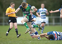 Saturday 27th April 2013 - Aaron Cairns gets away from Sean Doyle and is tackled by Stuart McKenzie during the final Ulster Bank League clash against Dungannon at Stevenson Park. Photo Credit : John Dickson / DICKSONDIGITAL