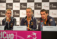 Arena Loire,  Trélazé,  France, 14 April, 2016, Semifinal FedCup, France-Netherlands, Draw,  Ltr: Richel Hogenkamp, Kiki Bertens and captain Paul Haarhuis<br /> Photo: Henk Koster/Tennisimages