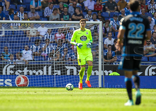 24th September 2017, RCDE Stadium, Barcelona, Spain; La Liga football, Espanyol versus Deportivo; Pantilimon looks to clear the ball long upfield