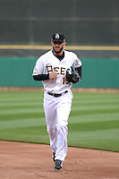 Matt Long (15) of the Salt Lake Bees during the game against the Sacramento River Cats at Smith's Ballpark on April 3, 2014 in Salt Lake City, Utah.  (Stephen Smith/Four Seam Images)