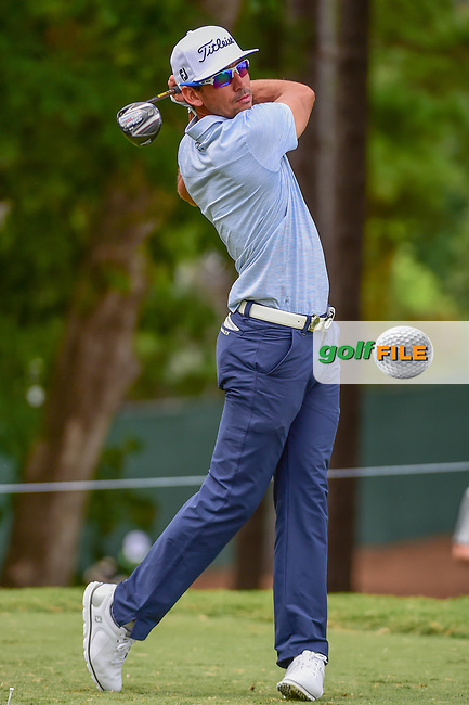 Rafael Cabrera Bello (ESP) watches his tee shot on 5 during Thursday's round 1 of the PGA Championship at the Quail Hollow Club in Charlotte, North Carolina. 8/10/2017.<br /> Picture: Golffile | Ken Murray<br /> <br /> <br /> All photo usage must carry mandatory copyright credit (&copy; Golffile | Ken Murray)