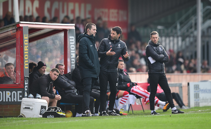 Lincoln City manager Danny Cowley, centre, speak to fourth official Tom Nield<br /> <br /> Photographer Chris Vaughan/CameraSport<br /> <br /> The EFL Sky Bet League Two - Lincoln City v Mansfield Town - Saturday 24th November 2018 - Sincil Bank - Lincoln<br /> <br /> World Copyright © 2018 CameraSport. All rights reserved. 43 Linden Ave. Countesthorpe. Leicester. England. LE8 5PG - Tel: +44 (0) 116 277 4147 - admin@camerasport.com - www.camerasport.com