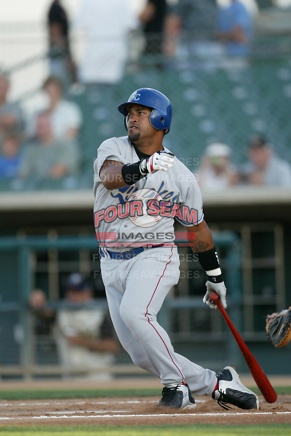Raul Mondesi of the Rancho Cucamonga Quakes bats against a 2004 season California League game at The Hanger in Lancaster, California. (Larry Goren/Four Seam Images)