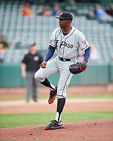 El Paso Chihuahuas starting pitcher Tyrell Jenkins (23) during the game against the Salt Lake Bees in Pacific Coast League action at Smith's Ballpark on April 30, 2017 in Salt Lake City, Utah.El Paso defeated Salt Lake 12-3. This was Game 2 of a double-header originally scheduled on April 28, 2017.  (Stephen Smith/Four Seam Images)