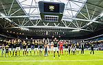 Solna 2015-07-12 Fotboll Allsvenskan AIK - GIF Sundsvall :  <br /> AIK:s Henok Goitom jublar med lagkamrater nedanf&ouml;r AIK:s supportrar efter matchen mellan AIK och GIF Sundsvall <br /> (Foto: Kenta J&ouml;nsson) Nyckelord:  AIK Gnaget Friends Arena Allsvenskan GIF Sundsvall Giffarna jubel gl&auml;dje lycka glad happy supporter fans publik supporters inomhus interi&ouml;r interior
