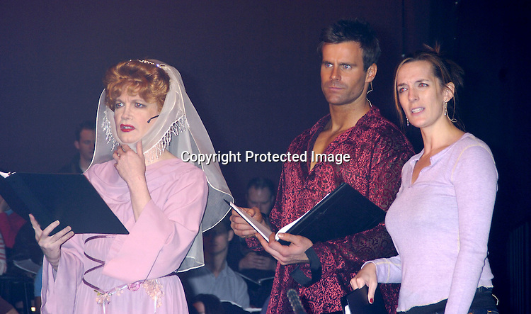 """Charles Busch, Cameron Mathison and Julia Murney ..at a performance of """"Pippin"""" A Concert to Benefit The National Aids Fund and The Storm Theatre on November 29, 2004 at The Manhattan Center's Grand Ballroom...PHoto by Robin Platzer, Twin Images"""