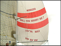 BNPS.co.uk (01202 558833)<br /> Pic:  BNPS<br /> <br /> Flamboyant - Max Walker proposed to Rebecca Vowles using the sail of their boat during the Round the Island Race in 2009.<br /> <br /> The ex-fiancee of a millionaire businessman denied started a cat fight with his new girlfriend - because she 'loved her nails too much'.<br /> <br /> Rebecca Vowles, 47, said she couldn't have banged down a locked toilet cubicle door to attack terrified love rival Samantha Newby-Vincent as it might have damaged her immaculate nails.<br /> <br /> But magistrates found the glamorous blonde defendant guilty of assault after being shown a video recording of the attack that happened in the ladies' loos at an exclusive marina in Poole, Dorset.