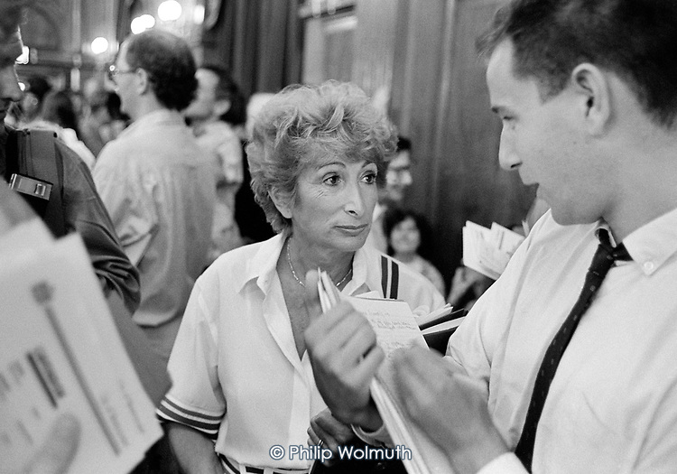 Dame Shirley Porter, leader of Westminster City Council, at the 1990 local election count, Porchester Hall. The Conservatives, later found guilty of gerrymandering, increased their majority from 4 to 38 seats.