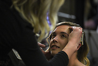 """Owner Charley Turneull of Not Another Barbershop (left) does make up of Alley Jackson of Fayetteville (right), Sunday, January 26, 2020 during the Kiss the Brides Expo at the Northwest Arkansas Convention Center in Springdale. Check out nwaonline.com/200127Daily/ for today's photo gallery.<br /> (NWA Democrat-Gazette/Charlie Kaijo)<br /> <br /> The annual Kiss the Brides Expo entered its tenth year in Northwest Arkansas with 100 exhibitors, runway shows and games and contests for engaged couples. Over 1,200 people and 400 brides attended the one day event. <br /> <br /> """"The pages of a wedding magazine comes to life,"""" said Ralph Desuse, executive producer of Kiss the Brides Expo."""