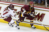 Andrea Green (BC - 21), Laura Fridfinnson (Minnesota-Duluth - 19) - The University of Minnesota-Duluth Bulldogs defeated the Boston College Eagles 3-0 on Friday, November 27, 2009, at Conte Forum in Chestnut Hill, Massachusetts.