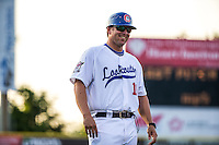 Chattanooga Lookouts manager Doug Mientkiewicz (16) smiles during a game between the Jackson Generals and Chattanooga Lookouts at AT&T Field on May 7, 2015 in Chattanooga, Tennessee. (Brace Hemmelgarn/Four Seam Images)
