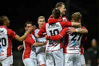 EMMEN - Voetbal, FC Emmen - De Graafschap, De  Oude Meerdijk, Jupiler League, seizoen 2017-2018, 16-02-2018,  Emmen viert de 1-0